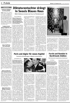 Tearsheet of the article about South Korea's imminent presidential election published by Neues Deutschland on Decmeber 19.