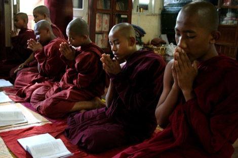 Novices in one of monasteries in Pokoku, Central Burma are studying and praying. Pokoku was one of pioneering towns of the monks-led Saffron revolution in 2007. Yet, some revolutionary monks have demonstrated their deeply-rooted hatred towards Muslims, which phenomenon can be seen among former political prisoners and activists.
