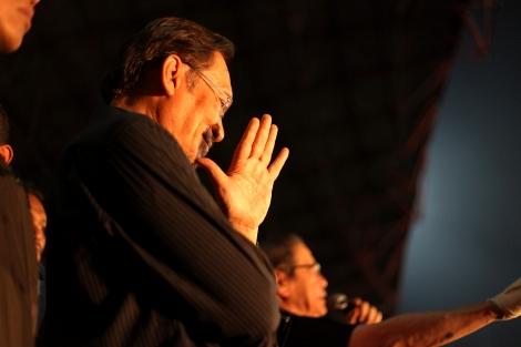 부정선거 규탄 장외집회에 선 야권연대(PR) 대표 안와르 이브라힘. 야당을 지지하는 약 십만여명의 시민들 앞에서  여유있는 표정을 보이고 있다. (Photo © Lee Yu Kyung)