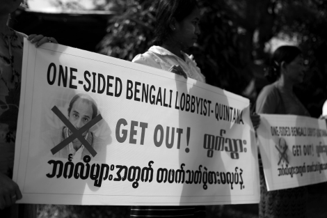 A Rakhine Buddhist protests against Tomas Quintana, the UN Human rights envoy to Burma. (Photo © Lee Yu Kyung 2013)
