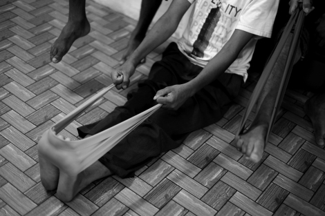 Rohingya refugees in Malaysia have been doing exercise twice a day in relief center run by Rohingya Society in Malaysia (or RSM) (Photo © Lee Yu Kyung 2014)