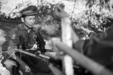 A KIA solider at the Lawayang frontline, 8 km off from Laiza – the rebel's capital in Kachin state. (Photo © Lee Yu Kyung)