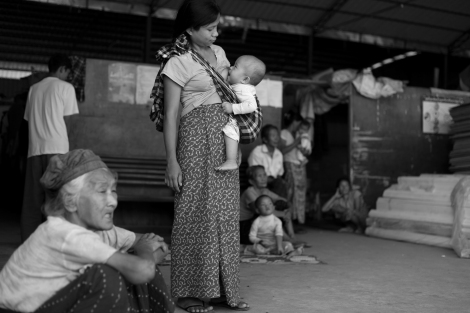 Kachin IDPs in one of the IDPs camps in Laiza, the rebel's capital near the Kachin-China border. Many of Kachin IDPs have been displaced multiple times since the war broke out in Kachin state in 2011. (Photo © Lee Yu Kyung)