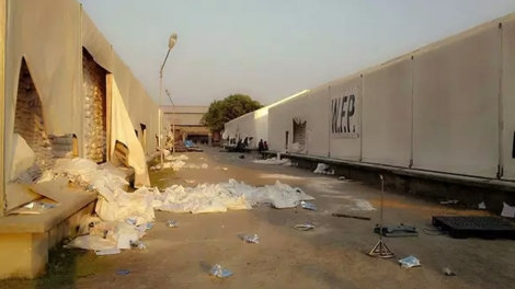 A WFP warehouse in Sittwe was ransacked by Buddhist mob on March 28. (Photo : Facebook)