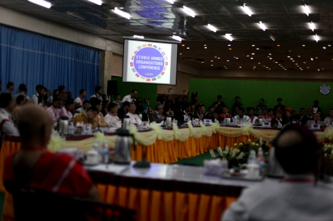 Kachin Independece Organization (or KIO) has organized 'Ethnic armed organizations'  Conference' in Laiza late 2013 to discuss on 'nation-wide ceasefire'. KIO's armed wing KIA and Ta'ang National Liberation Army (or TNLA) – the military wing of Palaung State Liberation Front (or PSLF) are the only armed groups that have not signed a cease fire with the Burmese government as of April 2014. (Photo © Lee Yu Kyung)