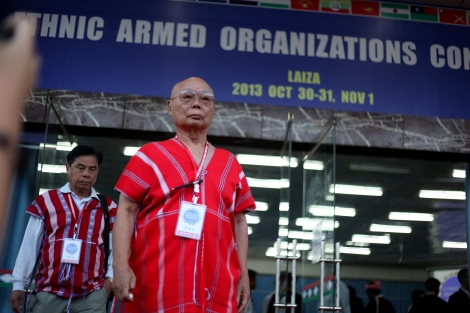 Gen. Mutu Say Poe, chairperson of Karen National Union has come out from the Ethnic conference in Laiza late 2013. (Photo  © Lee Yu Kyung)