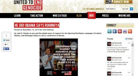 제노사이드종식연합(UEG)은 오바마 대통령의 두번째 버마 방문길에 몇 주 앞서 #Say Rohingya  즉, 로힝야 호명 캠페인을 벌였다. (UEG  사이트 갈무리)