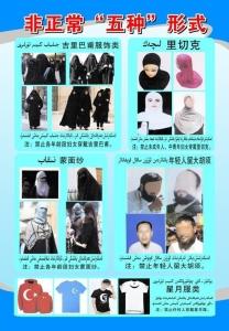 """최근년간 중국정부의 종교복장제약이심화되고있다. 금지 복장에는 이슬람의 상징 문양 중 하나인 초승달 그림이 박힌 티셔츠도 포함되어 있다. 빨간 바탕은 터키 국기이고, 파란 바탕은 신장 지역을 일컫는 """"동투르키스탄"""" 깃발이다."""