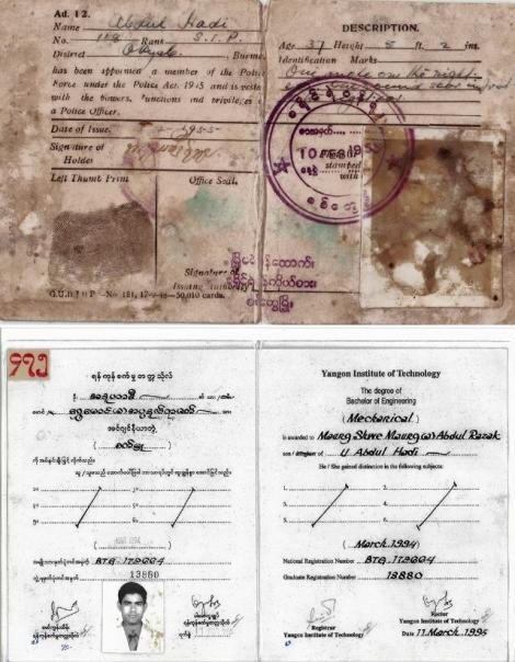 로힝야 국회의원 우 쉐마웅은 출생 당시 부모가 시민권자가 아니었다는 이유로 이번 총선 출마 자격을 얻지 못했다. 1965년 아버지가 경찰관으로 근무 중이었음을 증명하는 경찰증을 아라칸주 선거관리위원회에 보여주었지만 이의신청은 기각당했다. 아래는 우 쉐마웅의 랑군공대 졸업증. 우 쉐마웅 페이스북