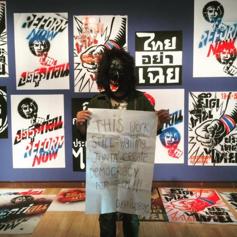 "Thai artist called ""Guerrillas Boys"" staged a guerrilla performance on May 25 in a protest of Thai artist Sutee Kunavichayanont's exhibition in Gwangju (Photo courtesy : Guerrillas Boys)"