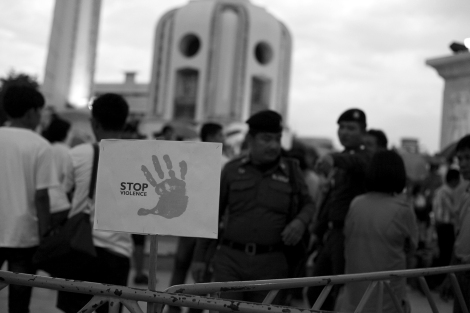 """Stop Violence"" sign at the Coup anniversary © Lee Yu Kyung"