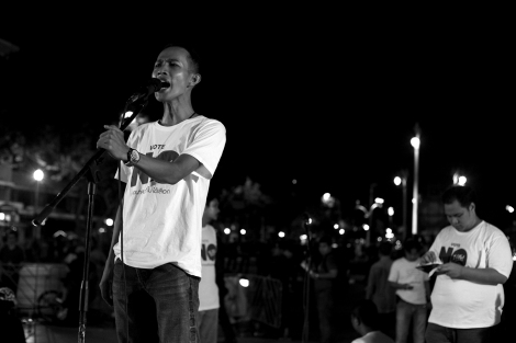 Anti-Coup activist made speech on the 2nd anniversary of Thailand's latest coup © Lee Yu Kyung 2016