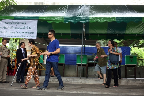 8월 7일 국민투표일 한산한 투표소에는 나이든 유권자들의 모습이 많이 눈에 띄었다. (© Lee Yu Kyung)