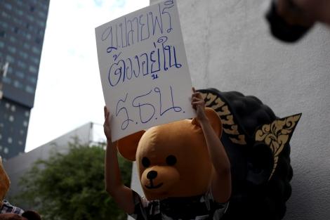 국민투표 일주일전 방콕 시내에서는 대엿명의 고등학생들이 '고등학교 무상교육'을 주장하며 반대투표 캠페인을 벌였다. 군정기안 신헌법안에 따르면 12년 무상교육은 유치원부터 시작되어 중등3년까지 커버한다. (© Lee Yu Kyung)