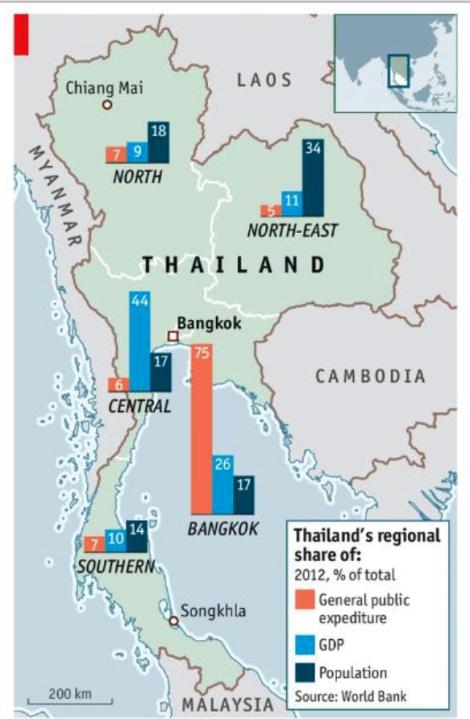 10여년 넘게 이어지는 타이 정치분쟁은 지역을 변수로 계층 갈등의 요소가 잠재되어 있다. 세계은행이 2012년 발표한 그래픽은 방콕에 집중된 부의 편중과 국가예산의 불균형한 책정을 잘 보여준다. 방콕과 방콕 이남으로 널리 분포한 왕정주의 옐로우 셔츠는 반탁신 성향이 매우 뚜렷하다. 반면 인구가 밀집된 상대적으로 빈곤한 동북부와 북부 일대는 친탁신 정치세력이 지지를 받아왔고 레드셔츠 강성 지역이다. 그러나 쿠테타 이후 친탁신 정치권의 무기력한 대응은 레드셔츠내 분파를 더욱 촉발하고 있다. (Source : World Bank 2012)